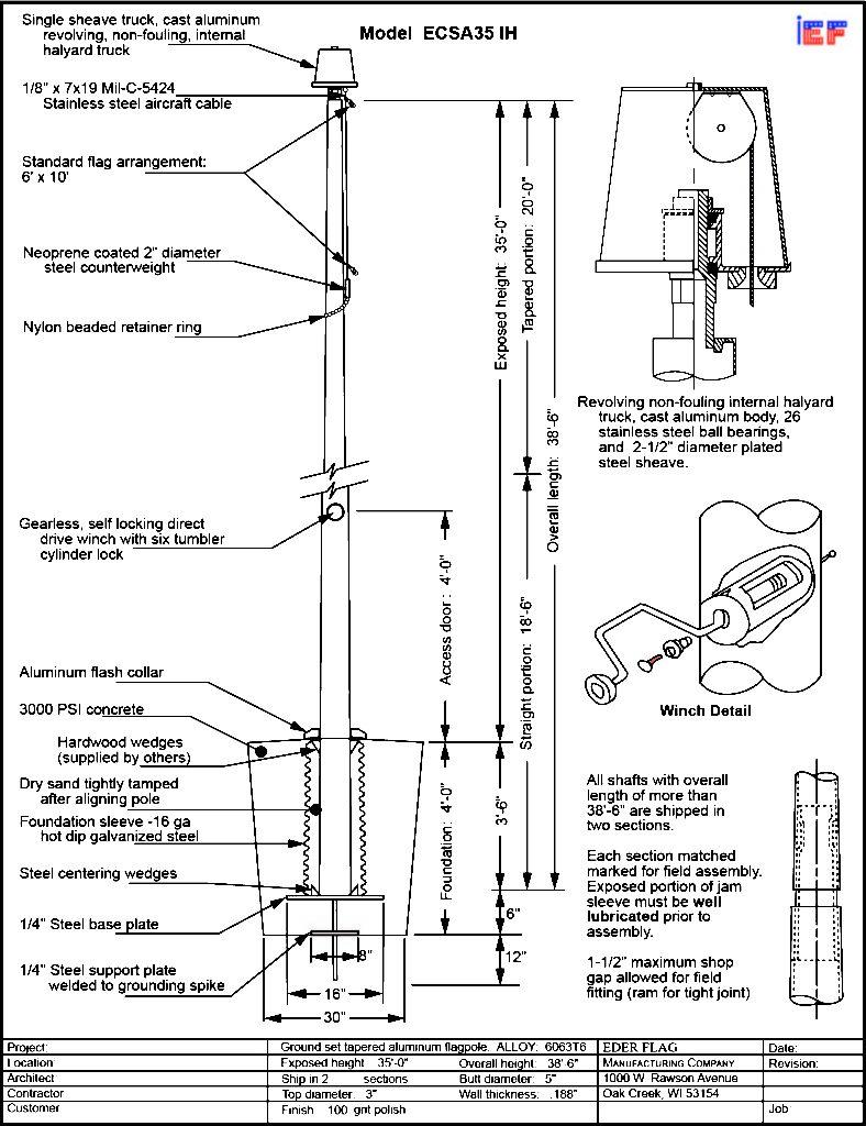 Winch Internal Flagpole
