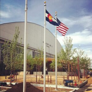 Three flagpoles installed by Custom Flag Co, Denver, CO