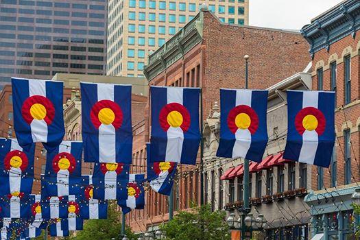 Co flags Larimier St Denver