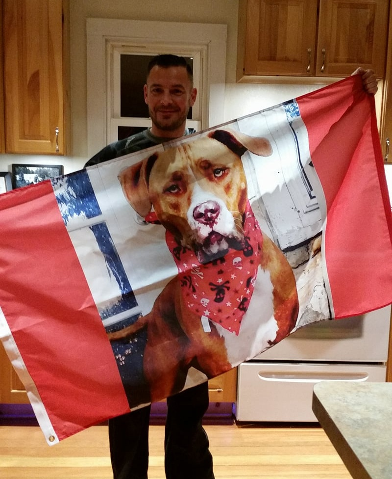 Custom Flag Company pet on a flag