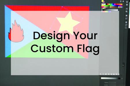 Graphic showing custom flag design feature