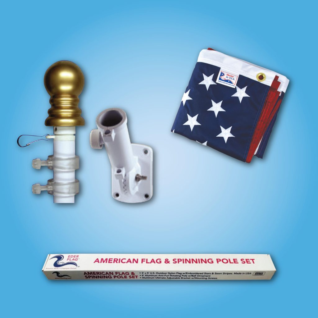 White Spinning Pole - American Flag & Spinning Pole Set