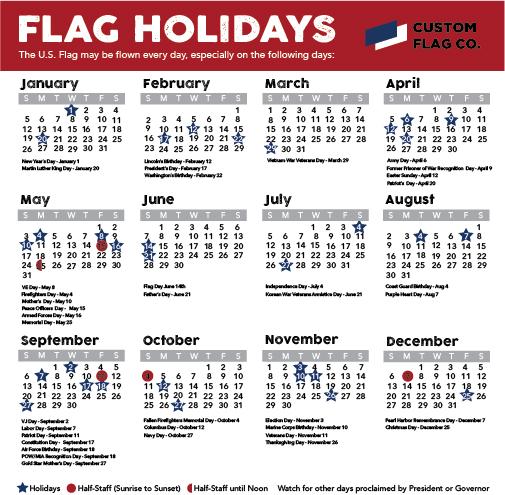 Cusrom Flag Company Flag Calendar 2020