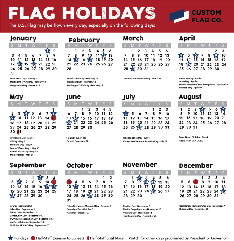 2021 Flag Flying Calendar